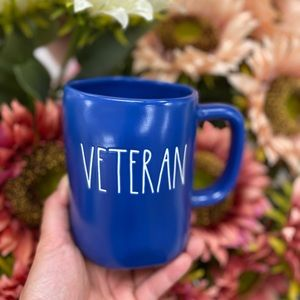 rae dunn veteran blue mug